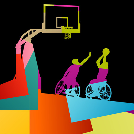 handicapped person: Healthy disabled men basketball players in a wheelchair detailed sport concept silhouette illustration background vector