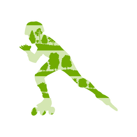 inline: Inline skating vector background concept made of forest trees fragments isolated on white