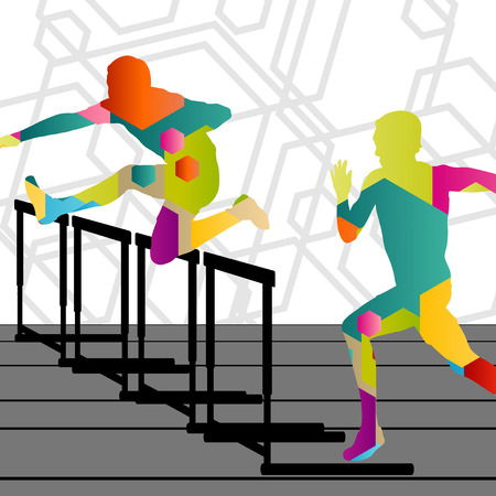 Active young men sport athletics hurdles barrier running silhouettes abstract background illustration