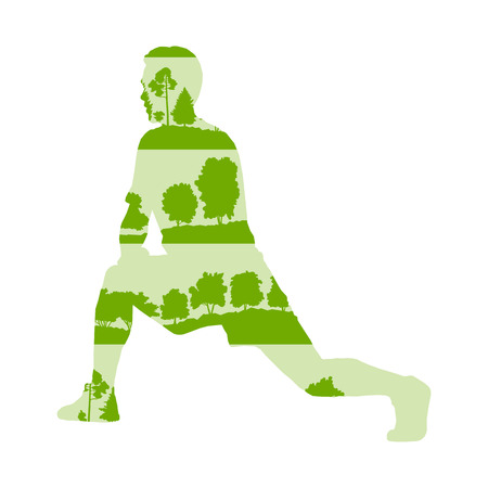 man made: Man stretching body and warming up vector background concept made of forest trees fragments isolated on white