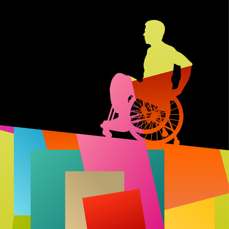 Men in a wheelchair disabled medical health silhouette abstract background vector illustration