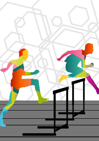 durable: Active young men sport athletics hurdles barrier running silhouettes abstract background illustration