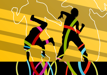 healthy people: Street dancers young active and healthy people silhouettes vector background illustration Illustration