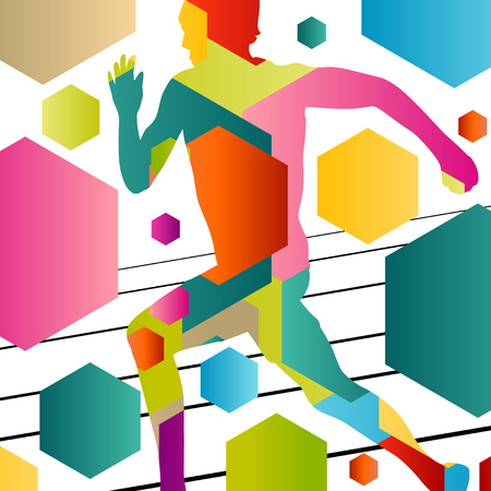 hurdling: Active young men sport athletics hurdles barrier running silhouettes abstract background illustration