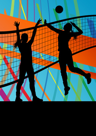 women sport: Women volleyball player sport silhouettes in abstract background illustration vector Illustration