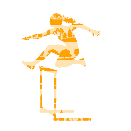 jog: Woman athlete hurdle race vector background concept made of forest trees fragments isolated on white