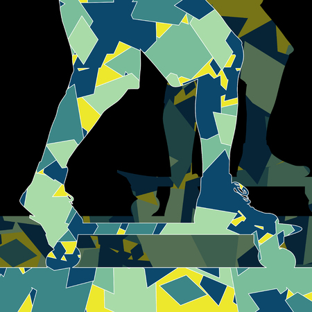 fragments: Skateboarder vector background abstract concept made of polygon fragments isolated Illustration