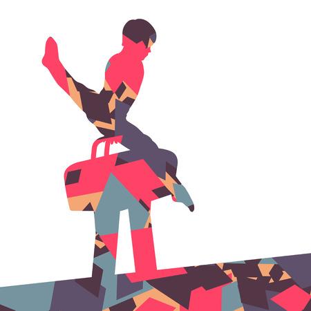 pommel: Active children boy sport silhouette on pommel horse in abstract mosaic background illustration vector Illustration