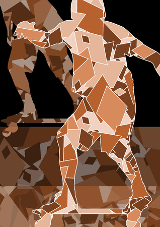 Skateboarder vector background abstract concept made of polygon fragments isolated Illustration