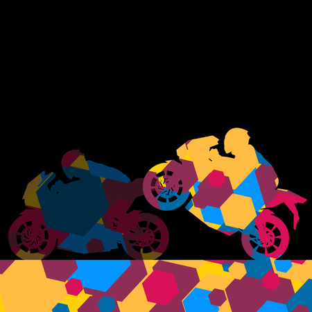 Sport motorbike rider motorcycle silhouette in abstract wax comb cell mosaic background illustration vector