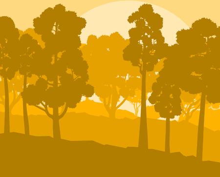 Mystical forest landscape sunset vector background vintage and retro colors