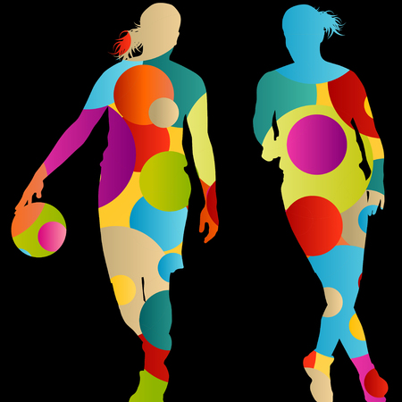 women sport: Basketball players active women sport silhouettes abstract background illustration vector