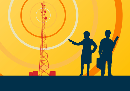 cell tower: Telecommunication tower with television antennas and satellite dish engineer inspection vector background with illustrative abstract wireless signal