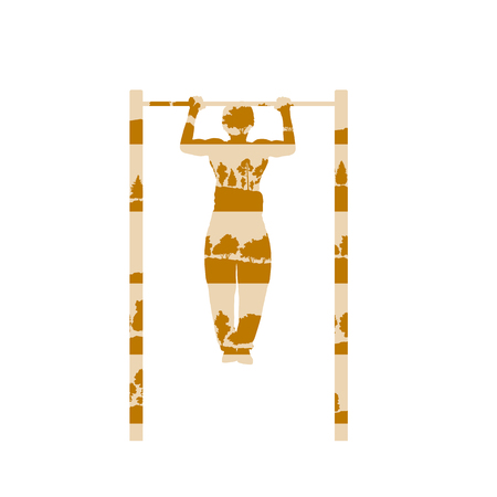 Man doing pull up exercise with rod vector background concept made of forest trees fragments isolated on white