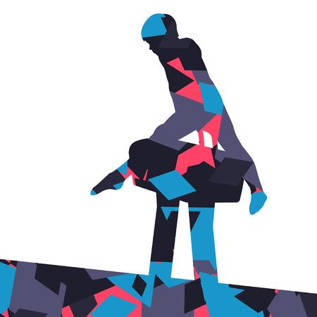 Active children boy sport silhouette on pommel horse in abstract mosaic background illustration vector Illustration