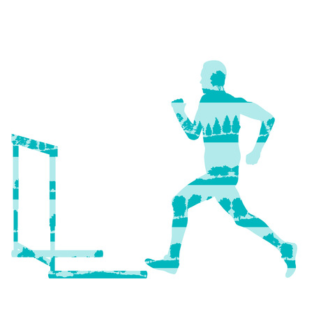 obstacle course: Hurdler in race vector background concept made of forest trees fragments isolated on white Illustration