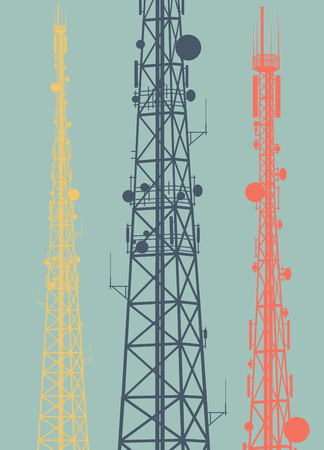 telephone mast: Telecommunication tower with television antennas and satellite dish vector background with illustrative abstract wireless signal Illustration