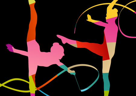 Girl calisthenics sport gymnast silhouette acrobatics flying ribbon abstract background illustration vector Illustration