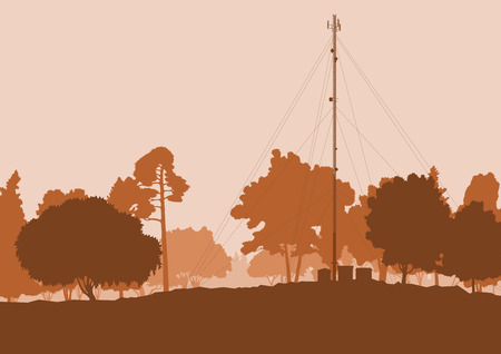 telephone mast: Telecommunication tower with television antennas and satellite dish vector background landscape with forest and trees Illustration