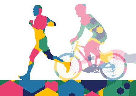 Triathlon marathon active young men swimming cycling and running sport silhouettes in abstract comb cell illustration background vector