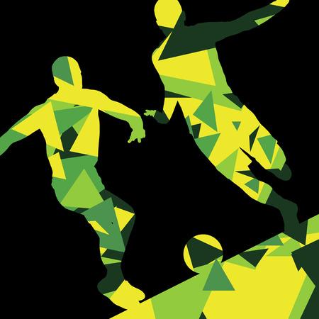 arquero de futbol: Jugadores de fútbol de los hombres de fútbol siluetas de deporte activo vector de fondo abstracto ilustración del mosaico Vectores