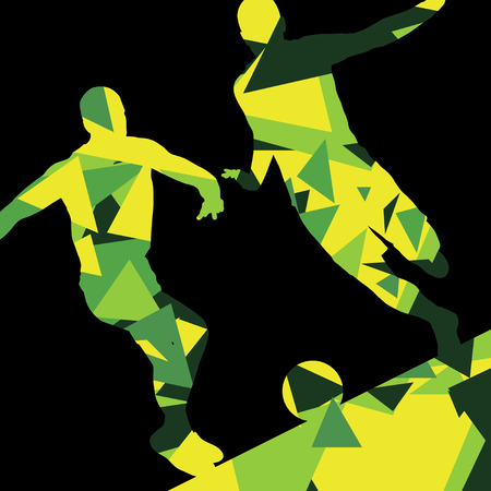 goalkeeper: Soccer men football players active sport silhouettes vector abstract mosaic background illustration Illustration