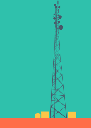 Telecommunication tower with television antennas and satellite dish vector background with illustrative abstract wireless signal Illustration