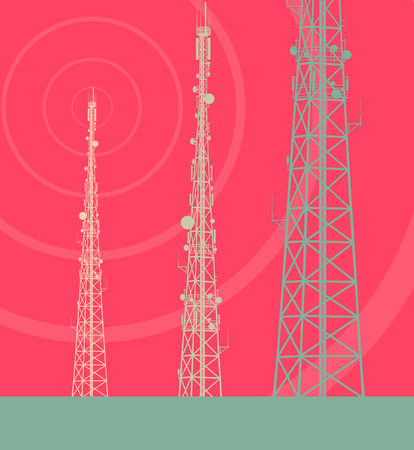 Telecommunication tower with television antennas and satellite dish vector background with illustrative abstract wireless signal  イラスト・ベクター素材