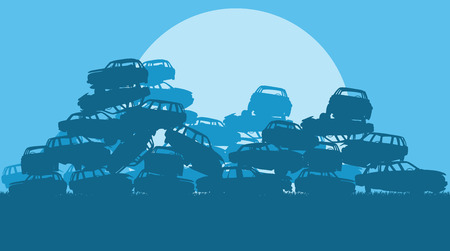 scrap: Cars in salvage junkyard in evening with sunset vector background