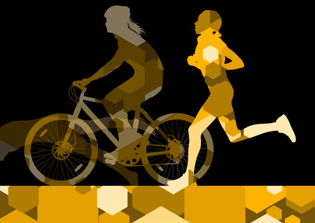 Triathlon marathon active young women swimming cycling and running sport silhouettes in abstract comb cell illustration background vector