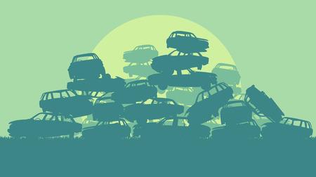 junkyard: Cars in salvage junkyard in evening with sunset vector background