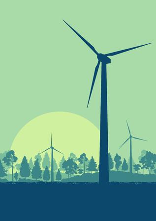 Wind turbines high voltage green energy generator alternative power farm landscape background vector with trees Illustration