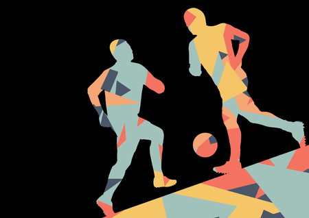 athletes: Soccer men football players active sport silhouettes vector abstract mosaic background illustration Illustration