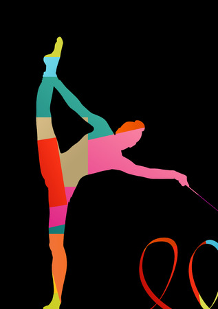 calisthenics: Girl calisthenics sport gymnast silhouette acrobatics flying ribbon abstract background illustration vector Illustration