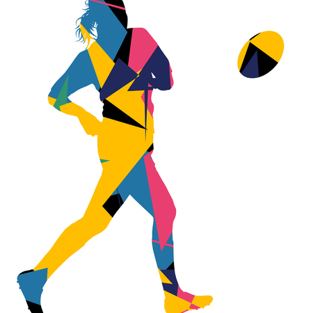 tactics: Active women rugby players young healthy sport silhouettes abstract line vector background illustration