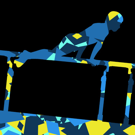 pommel: Active children boy sport silhouette on parallel bars in abstract mosaic background illustration vector