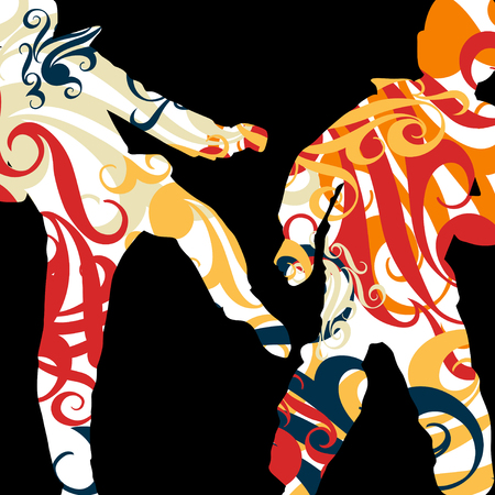 knocking: Boxing active young men box sport silhouettes vector abstract mosaic graphic background illustration
