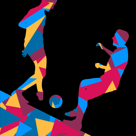 Soccer men football players active sport silhouettes vector abstract mosaic background illustration Illustration