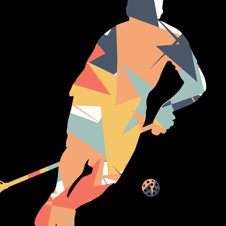 floor ball: Floorball players silhouettes active and healthy sport vector abstract mosaic background illustration