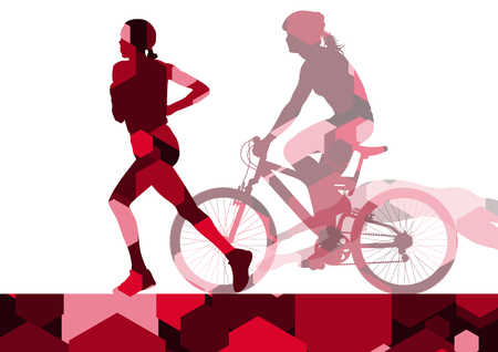 women sport: Triathlon marathon active young women swimming cycling and running sport silhouettes in abstract comb cell illustration background vector