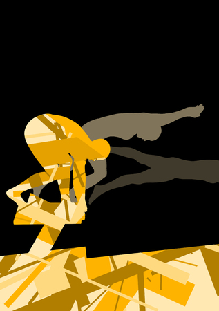 action girl: Active young swimmers diving and swimming in water sport pool silhouettes vector abstract background illustration