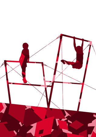 pommel: Active children sport boy silhouettes on uneven bars in abstract mosaic background illustration vector