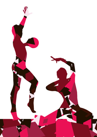 Gymnast women with ball in abstract background mosaic illustration vector