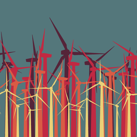 Wind turbines high voltage green energy generate alternative power farm abstract concept background vector