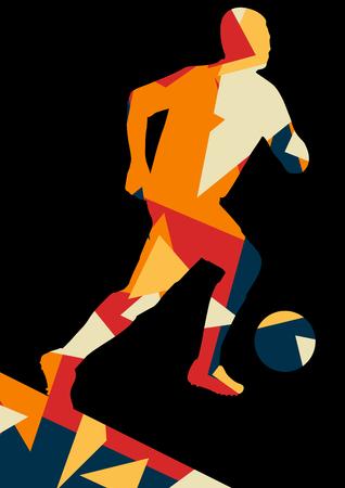 jugadores de futbol: Soccer men football players active sport silhouettes vector abstract mosaic background illustration Vectores