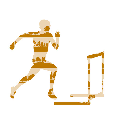 conquering adversity: Hurdler in race vector background concept made of forest trees fragments isolated on white Illustration