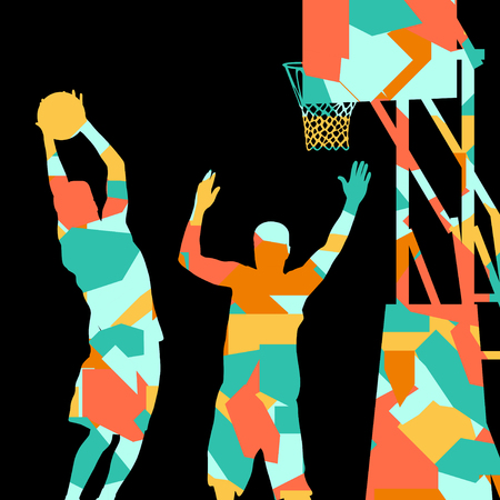 slam dunk: Basketball players young active sport silhouettes vector background abstract illustration