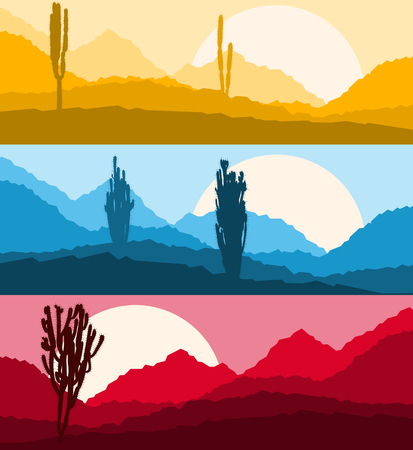 Desert cactus landscape with mountains and hill silhouettes vector nature horizontal background set banners Illustration