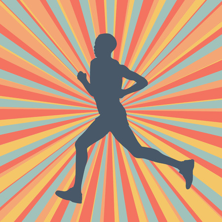 tough woman: Running woman vector illustration background with colorful modern retro burst Illustration