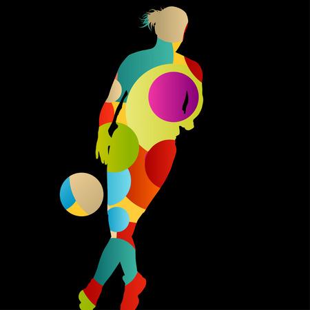 siluetas mujeres: Los jugadores de baloncesto mujeres activas Siluetas del deporte de fondo abstracto ilustración vectorial Vectores